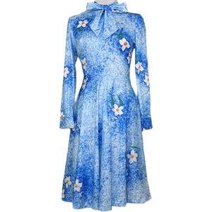 VTG 80's Ombré Floral Bowtie secretary Dress Sz 10